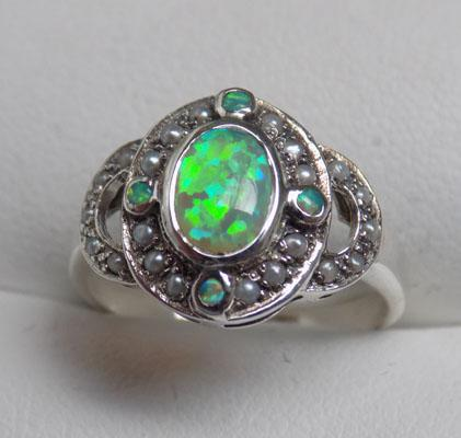 925 Silver Victorian style Opal & seed Pearl ring size L