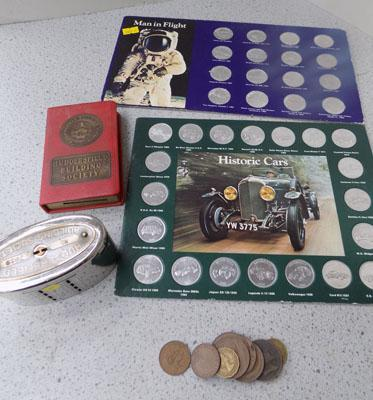 Historic cars/man in flight coins & 2 vintage money boxes