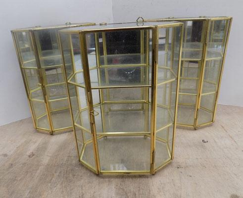 3x Small glass display cabinets