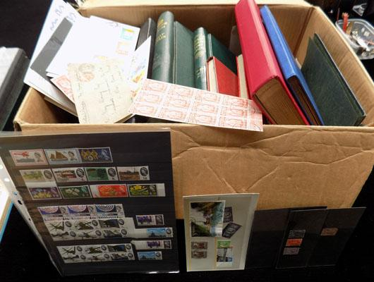 Large box of stamp albums