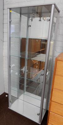 Glass display cabinet with light & 4 shelves