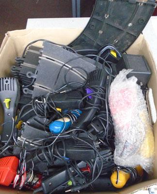 Box of Scalextric track & controllers