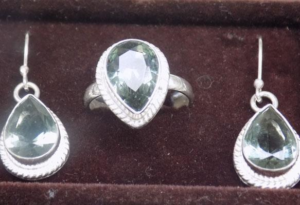 Silver ring & ear rings set Olive Tourmaline