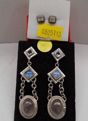 2x Pairs of silver ear rings-Moonstone