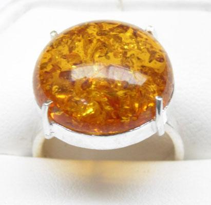 925 Silver Amber ring size P1/2