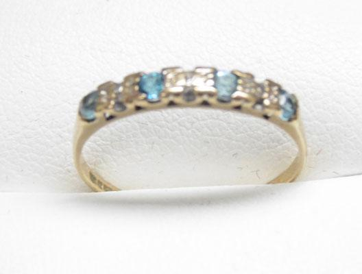 9ct Gold Diamond & blue Topaz ring size O1/2