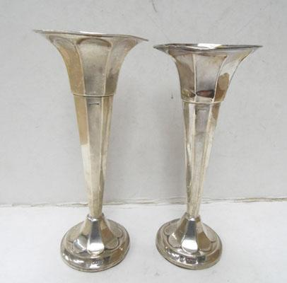 Pair of sterling silver Posy vases