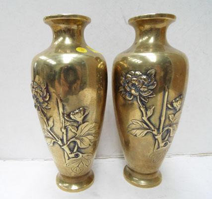 Pair of quality brass Japanese antique vases