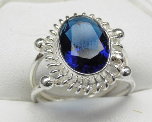 925 Silver blue Sapphire ring size Q1/2