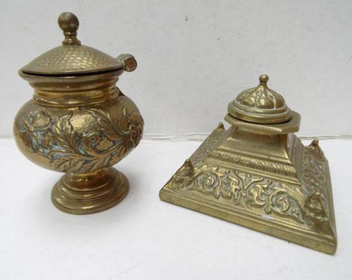 Pair of Antique brass inkwells-Victorian