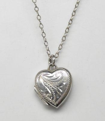 Small sterling silver heart locket necklace-Birmingham