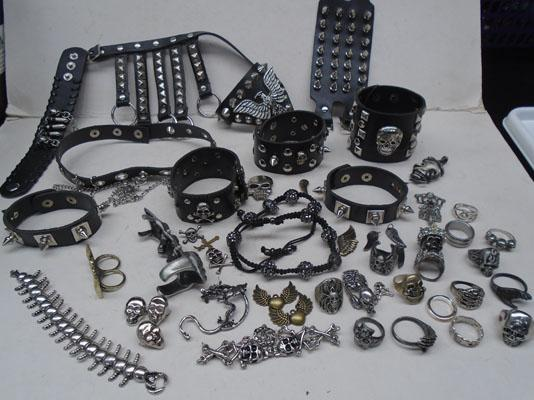 Collection of Goth jewellery & items