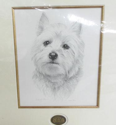 Sandra Leighton 'west Highland Terrier' signed Ltd Ed print with certificate