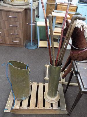 Wooden sledge & brass stick stands