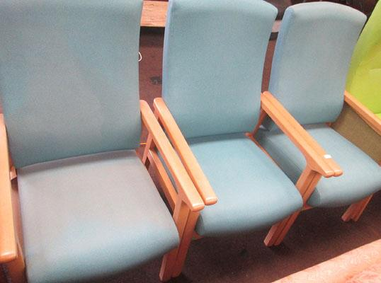 Set of 3 blue chairs