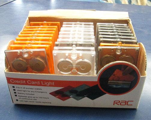 Box of 28 'credit card' style torches