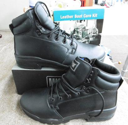 UK size 11 mens black work boots & leather care kit