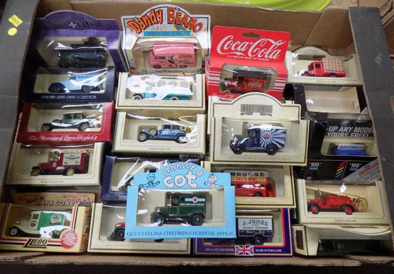 Box of toy boxed cars