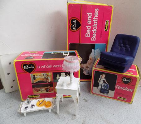 Vintage Pedigree Sindy 1970's 3x boxes, bed, table, rocker