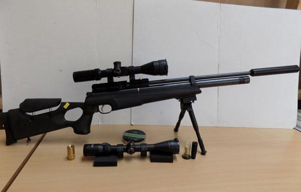Hatsan AT 4410 22 Air Gun with all valves etc. to fill with air. Spare scope and spare silencer & pellets. 10 shot mag - in office