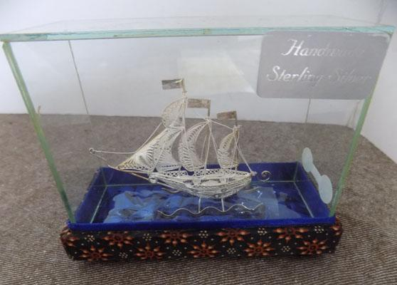 Handmade sterling 925 silver Naval ship in glass case