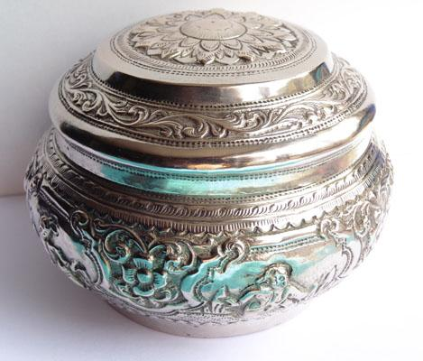 Solid Silver Asian/Indian patterned bowl with lid