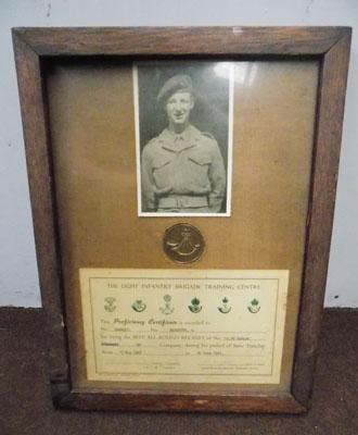 PTE M Marriott Light Infantry Brigade photograph, medal & certificate framed