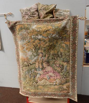 Large vintage tapestry & 3 cushions