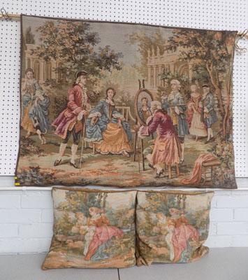 Large vintage tapestry & 2 cushions