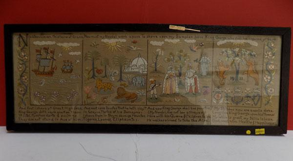Framed original 1911 Petite Point Sampler for King George V Coronation with inscription on reverse