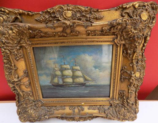 Print of sailing ship in ornate frame