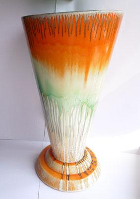 Large Shelley orange and green vase