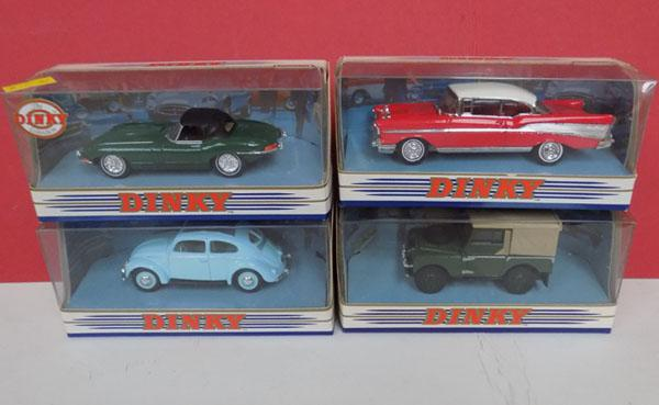 4 x Dinky diecast cars - E-type Jaguar, Chevrolet Bel Air 1957, 1949 Land Rover & 1951 VW Beatle