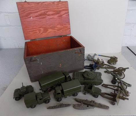 1950's Dinky Military collection 16 pieces 1940's Amo box