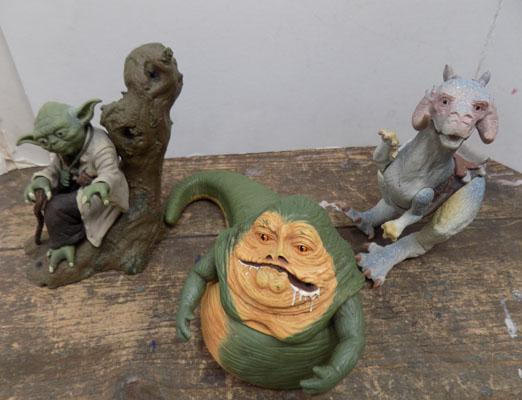 3x Star Wars figures-Jabba, Yoda & other