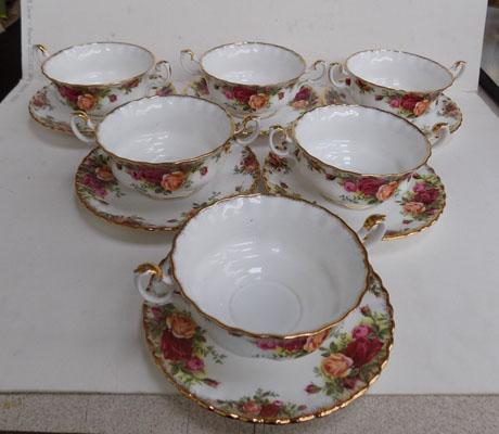 6x Royal Albert 'Old Country Rose' soup bowls