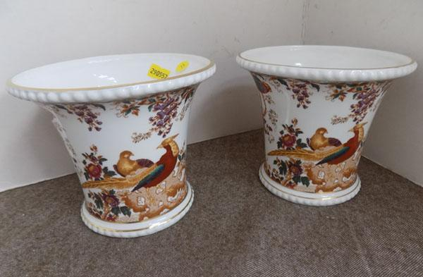 Pair of Royal Crown Derby 'Old Avesbury' planters
