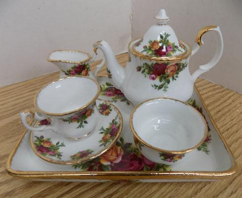 Miniature Royal Albert 'Old Country Rose' tea for one set