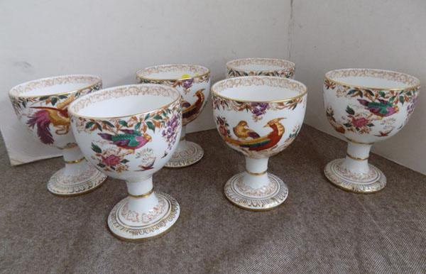 Set of 6 Royal Crown Derby 'Old Avesbury' goblets