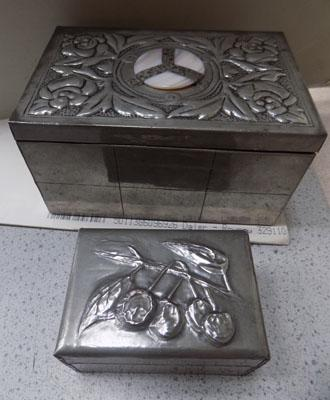 2x Arts & crafts pewter trinket boxes