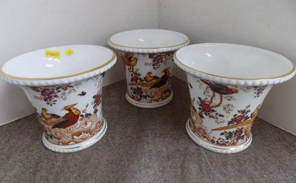 Trio of Royal Crown Derby 'Old Avesbury' planters