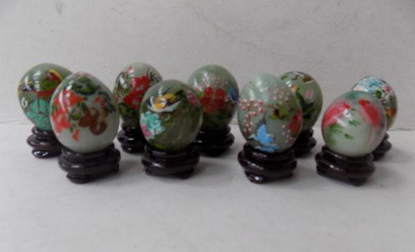 Set of 10 hand painted Jade eggs & stands
