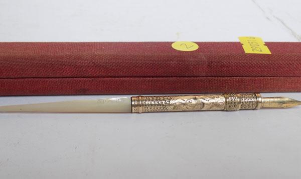 Mother of Pearl handle & gold plated fountain pen