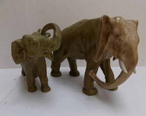 Royal Dux Elephant and calf