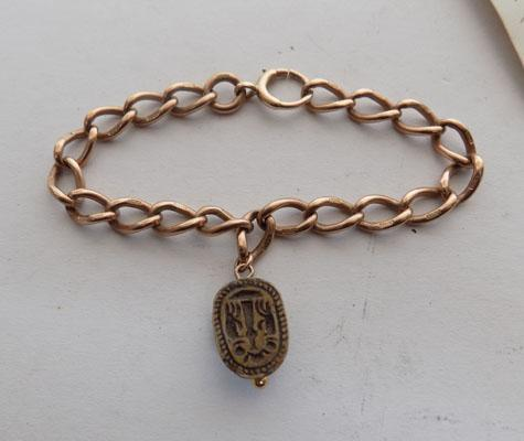 9ct Rose Gold chain with Egyption  Scarab Beetle