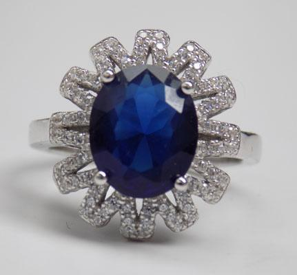 925 Silver 4ct blue sapphire and white topaz ring size N 1/2