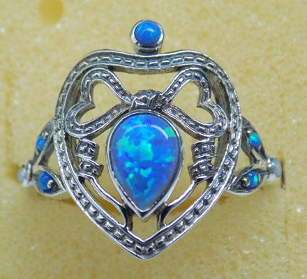 925 Silver and 1ct blue fire opal Art Deco style ring size P