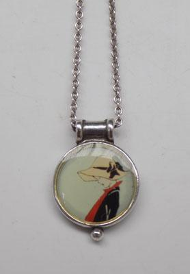Vintage silver necklace with 'lady in a Hat' pendant