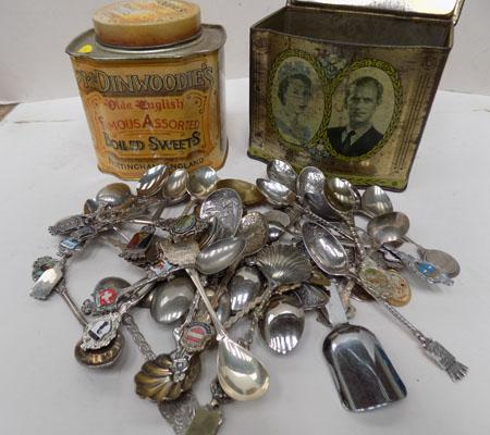 2 Vintage tins filled with spoons