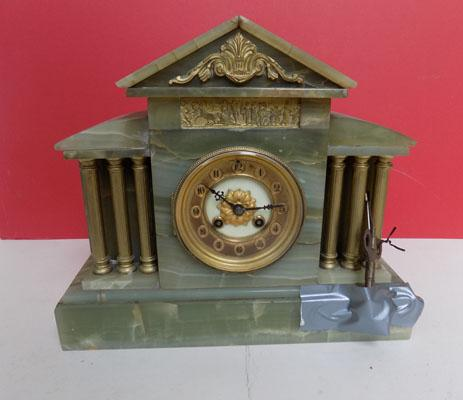Green marble clock with key